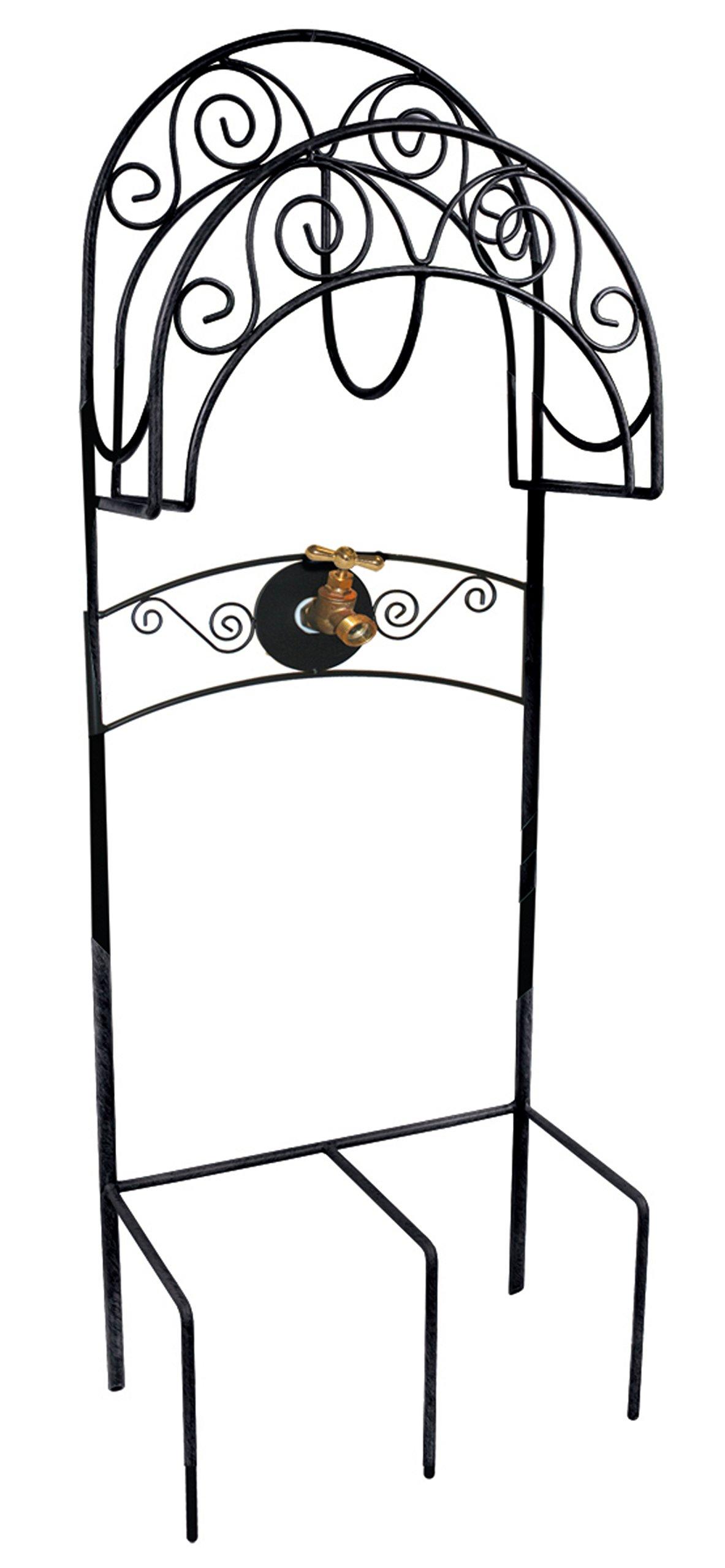 Liberty Garden 640 Carrington Decorative Metal Hose, Stand w/Bib Black