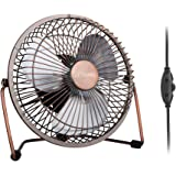 GLAMOURIC Desk Fan - 6 inch USB Quiet Desk Fan Retro Design Equipped with Speed Regulator(Adjust speeds as You Like) for Work Home School Travel (Bronze No Plug)
