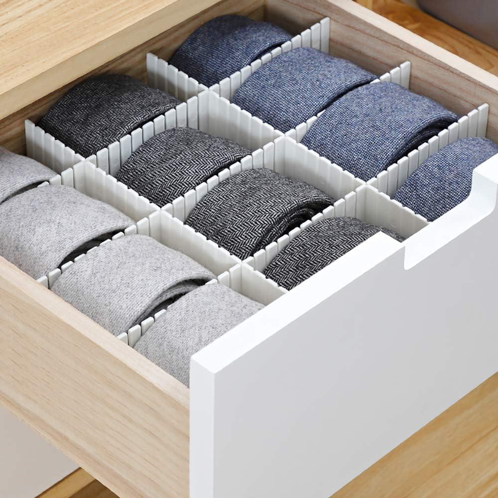 DOBMIT 20PCS DIY Drawer Dividers for Clothes Socks Underwear Plastic Drawer Organizer Closet Makeup Office Stationary Storage