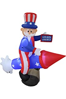6 Foot Long Patriotic Independence Day Inflatable Uncle Sam On Rocket