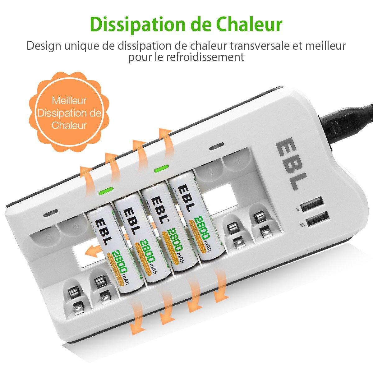 EBL 8pcs Piles AA 2800mAh + Chargeur de Piles 8 Slots avec 2 USB Ports pour Accus AA/AAA/Ni-CD/Ni-MH et Smartphone Tablette Rechargeable Rapide