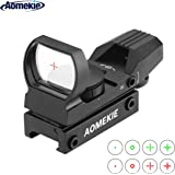 Aomekie Red Dot Sight Scope Tactical 4 Reticles Green & Red Air Rifle Scope with 20mm/22mm Weaver/Picatinny Rail Mount and Cover for Hunting Crossbow