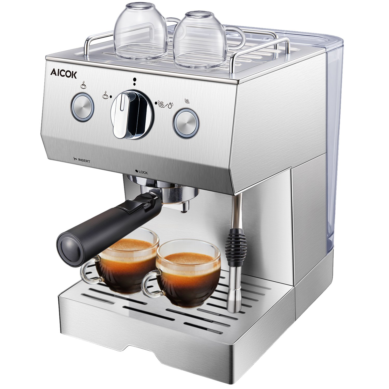 Aicok Cafetera Espresso 15 Bares, Cafetera Cappuccino y Latte, Boquilla de Espuma de Leche Profesional | 1.5 L Tanque de Agua | Calentamiento Rápido | 2 Tazas Función | Todo Acero Inoxidable \ Plata