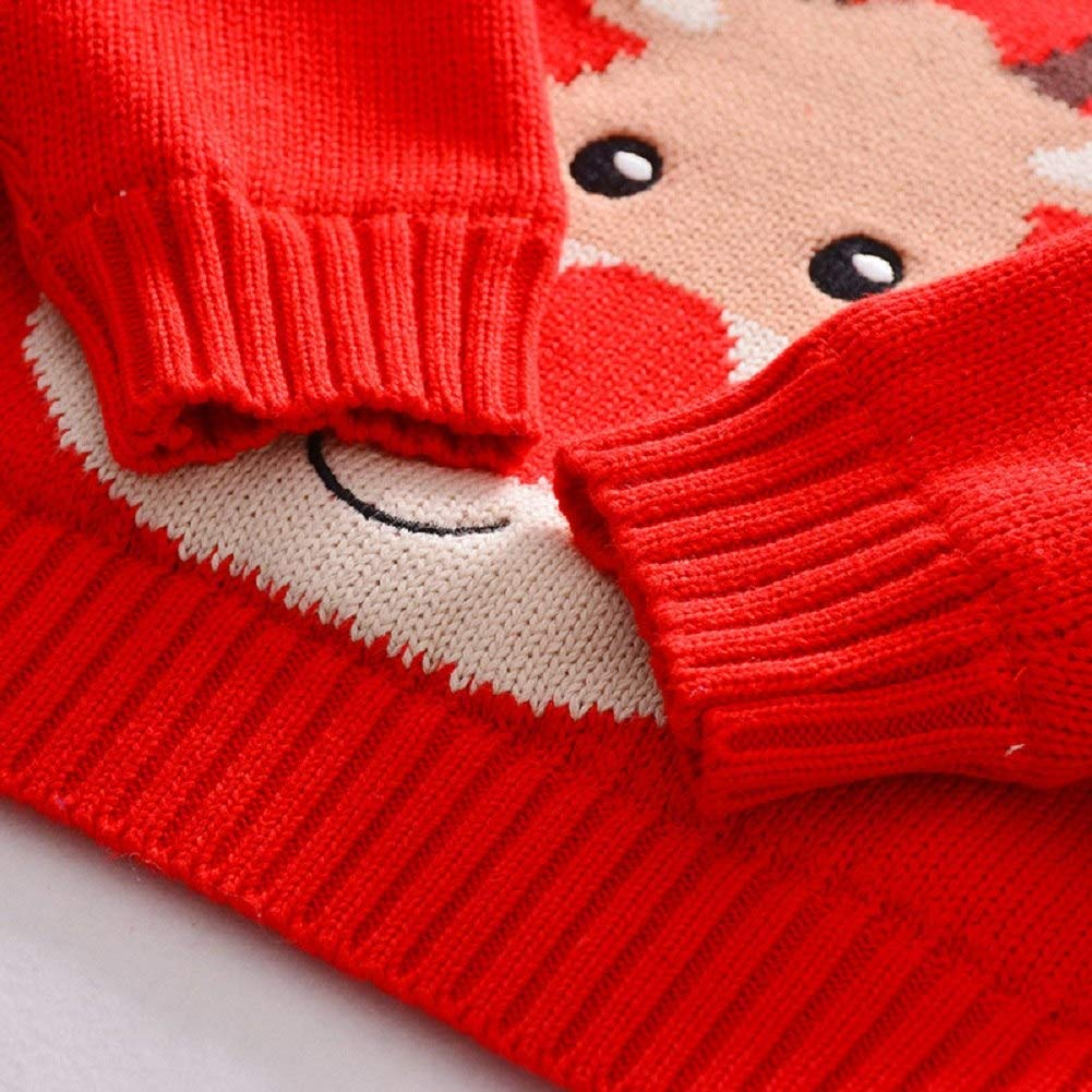 Happy childhood Kids Winter Red Pullover Sweater Raindeer Style Funny Christmas Warm Outwear Coat