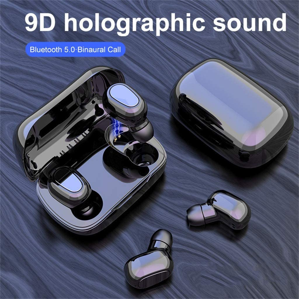 Unine Wireless Earbuds Bluetooth 5.0 Headphones, Extremely Light Mini Earphone with 350MAH Charging Case,5H Play Time,HiFi Stereo,Noise Cancelling in-Ear Headset,Headphone for Sports,Work,Gym