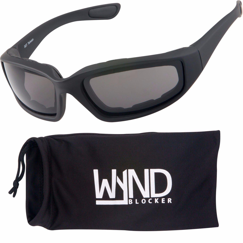 WYND Blocker Motorcycle & Biking Wind Resistant Sports Wrap Sunglasses (Black/Smoke Lens)