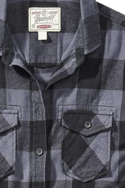 Brandit Camisa a Cuadros de Franela Amy Mujer Camisa de Franela Negro/Gris, innen aufgeraut Regular: Amazon.es: Ropa y accesorios