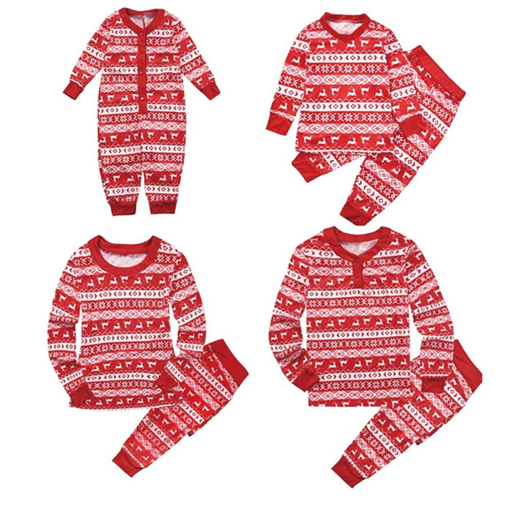 Reefa Family Matching Christmas Theme Sleepwear Set, Family Father Mother Kids Infant Nightwear Pyjamas Set for Xmas