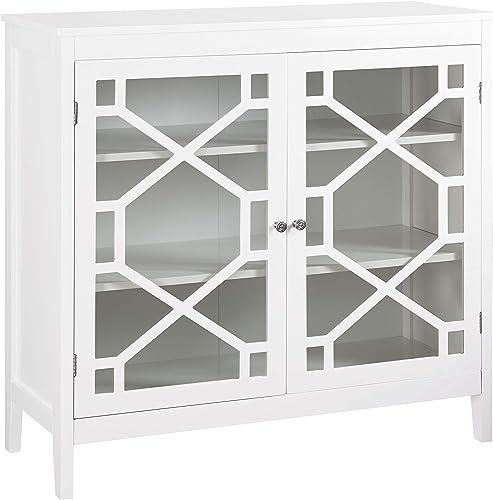 Linon Fetti 38in Curio Cabinet in White