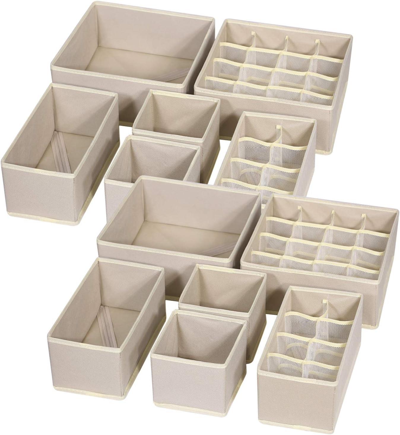 Organizador para Ropa Interior,3 Piezas Plegable Organizador Ropa Interior,para Almacenar Calcetines Sujetador,Corbatas Organizador De Cajones Beige Bufandas