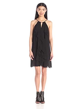 BCBGMax Azria Women's Hattie Short Ruffle Dress, Black, X-Small