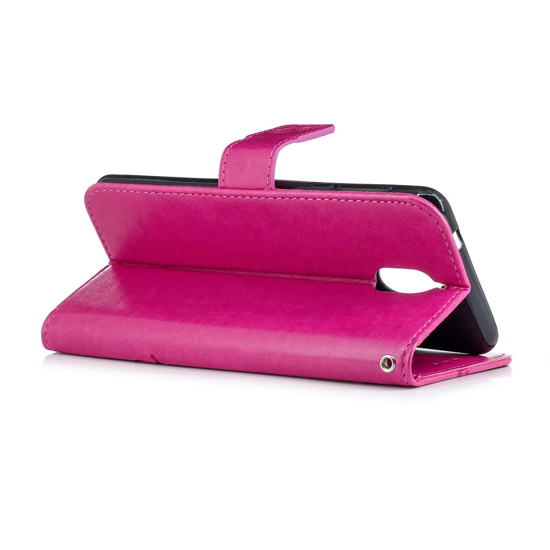 Urhause PU Leder H/ülle Flip Cover Wallet 3D Ledertasche Schmetterling Kristall Strass Glitzer Leather Brieftasche Handytasche Klapph/ülle Lederh/ülle Kompatibel mit Nokia 3.1 2018,Rose rot