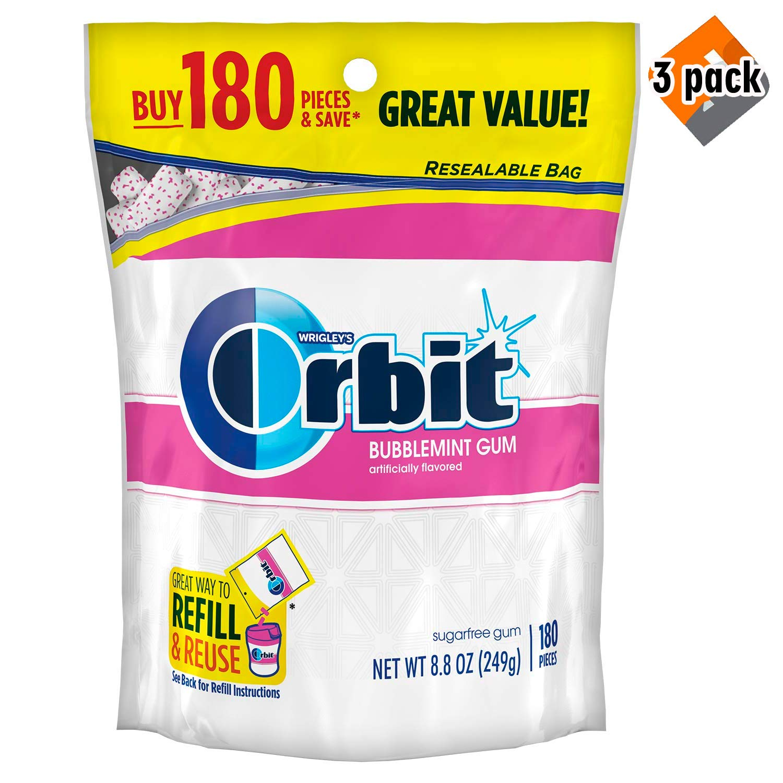 ORBIT Bubble mint Sugar free Gum, 8.5-Ounce Resealable Bag, 180 Pieces - 3 Pack by Orbit Gum