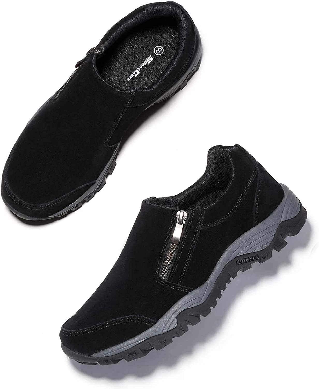 SILENTCARE Mens Loafers Casual Shoes,Breathable Lightweight Zipper Slip On Sneakers, Hiking Shoes for Outdoor Trail Trekking 11 M US, Black