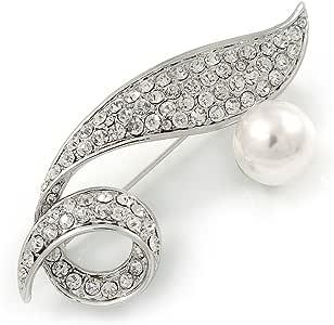 Conjunto Pave de cristal transparente, vidrio blanco perla