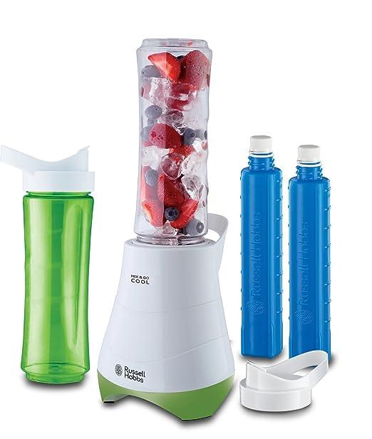 Russell Hobbs Mix & Go - Batidora de Vaso Individual (300 W, Batidora Smoothies, Sin BPA, Blanco y Verde, 2 vasos de 600 ml y 2 tubos refrigeradores) ...
