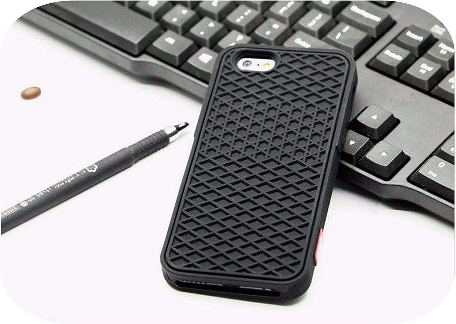 Waffle case Rubber Cover Case for iPhone 11 Pro Max 5S 6 6S 7 8 Plus Xs Max Xr Shoe Sole Phone Case Back Cover-Brown Black-for iPhone 11 Pro