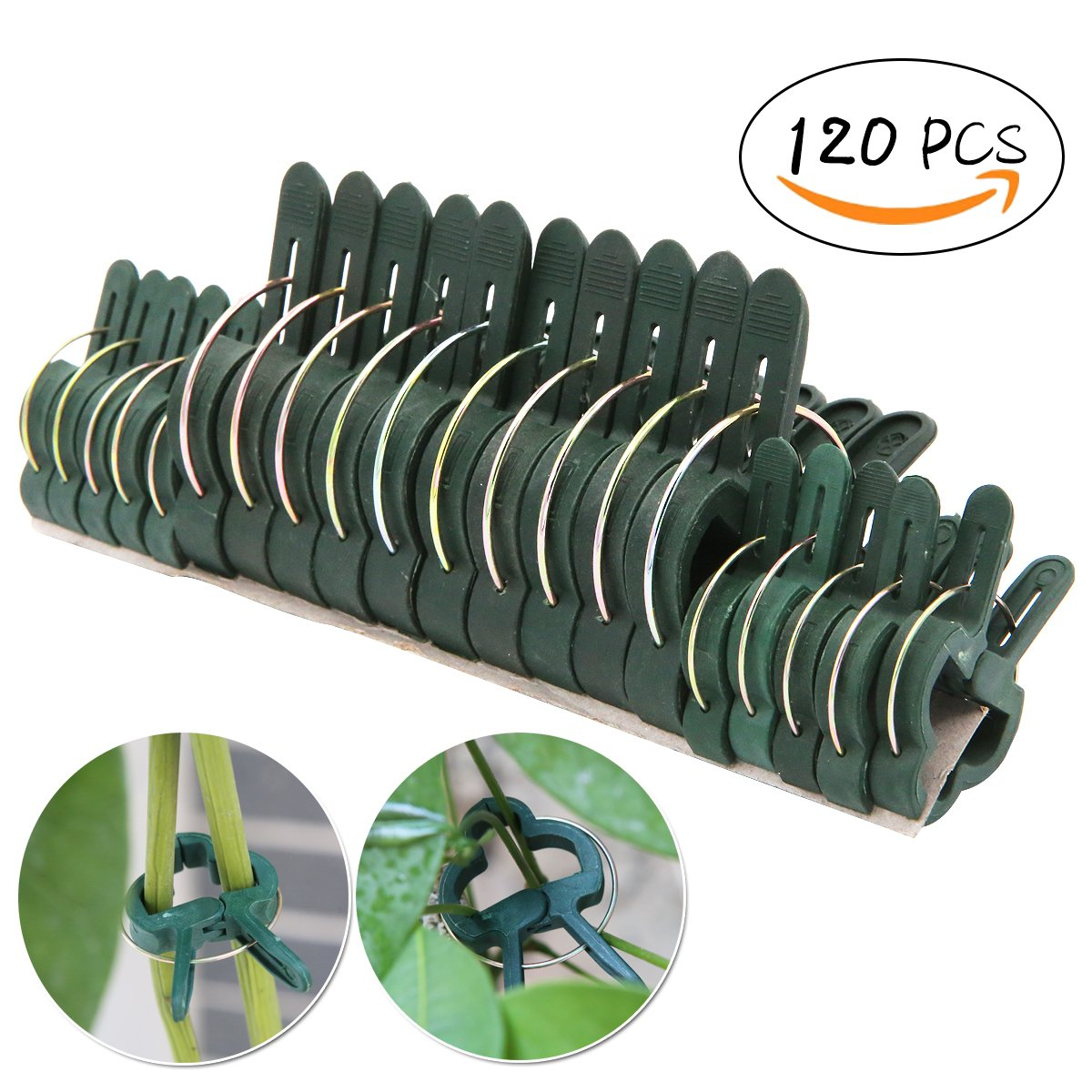 UniGift 120pcs (Small & Large) Plant Flower Clips-Garden Plant Support Staking Clips Garden Clips Supporting Stems-Vines Grow Upright