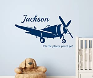 Custom Name Airplane Wall Decal - Airplane Wall Decal - Nursery Wall Decals - Oh The Places You'll go Baby Wall Decor Nursery Home Vinyl Sticker (48