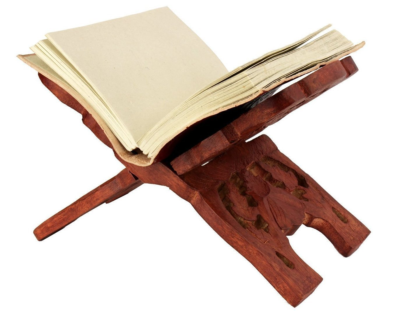 Dios Wooden Book Reading Stand - Size 13 inch x 6.5 inch - Hand Carved Holy Book Holder Folding Stand / Rihal/Rahel for Quran / Bible / Geeta / Guru Granth Sahib / Tanakh / Torah - Handmade by By Dios®