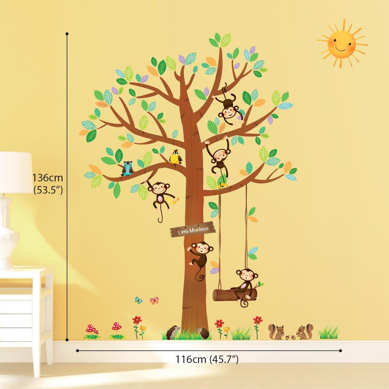 Decowall DM-1401 5 Little Monkeys Tree Kids Wall Stickers Wall ...