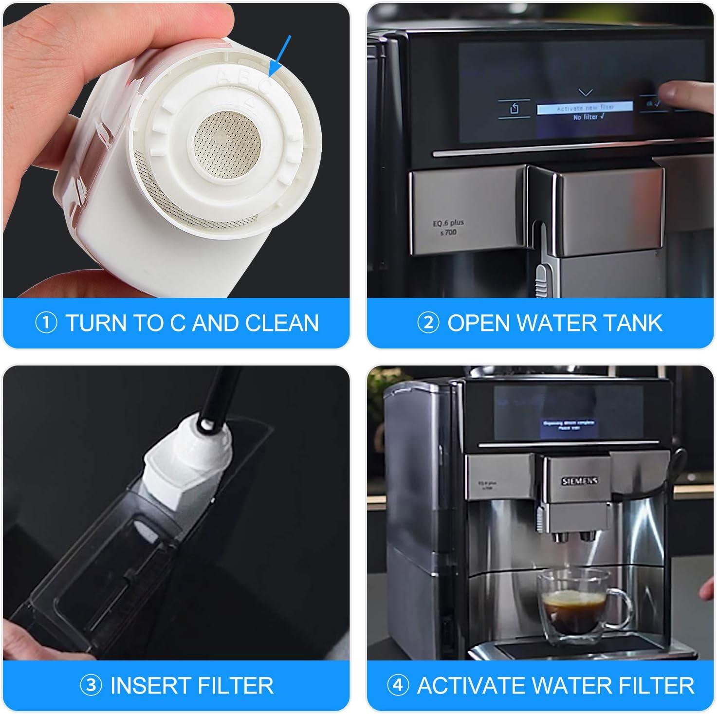 Rhodesy Water Filter for Siemens TZ70003, Neff, Gaggenau Coffee Machine Cartridge Coffee Filter 4 PCS