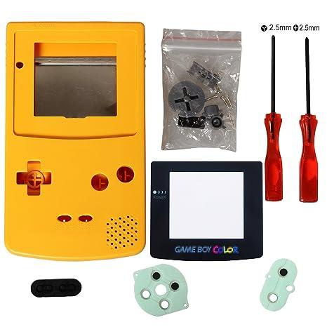 eJiasu Reemplazo Completo Reemplazo de Carcasas Shell Pack Reemplazo para Nintendo GBC Gameboy Color (Caja Amarilla con Lente y Destornillador)