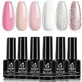 Beetles French White Gel Nail Polish Kit - 6 Pack Nude Pink Glitter Gel Polish Set Soak Off LED Lamp Nail Gel Manicure…