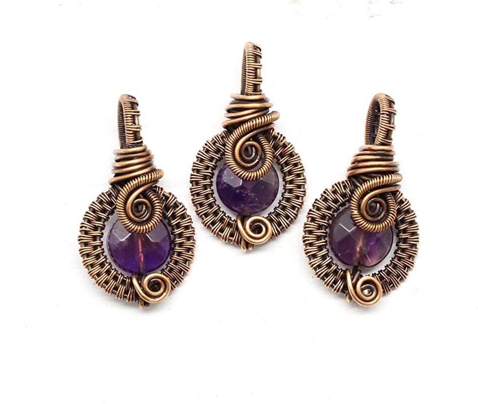 Amethyst Wire Wrapped Moon Necklace NCK-0003