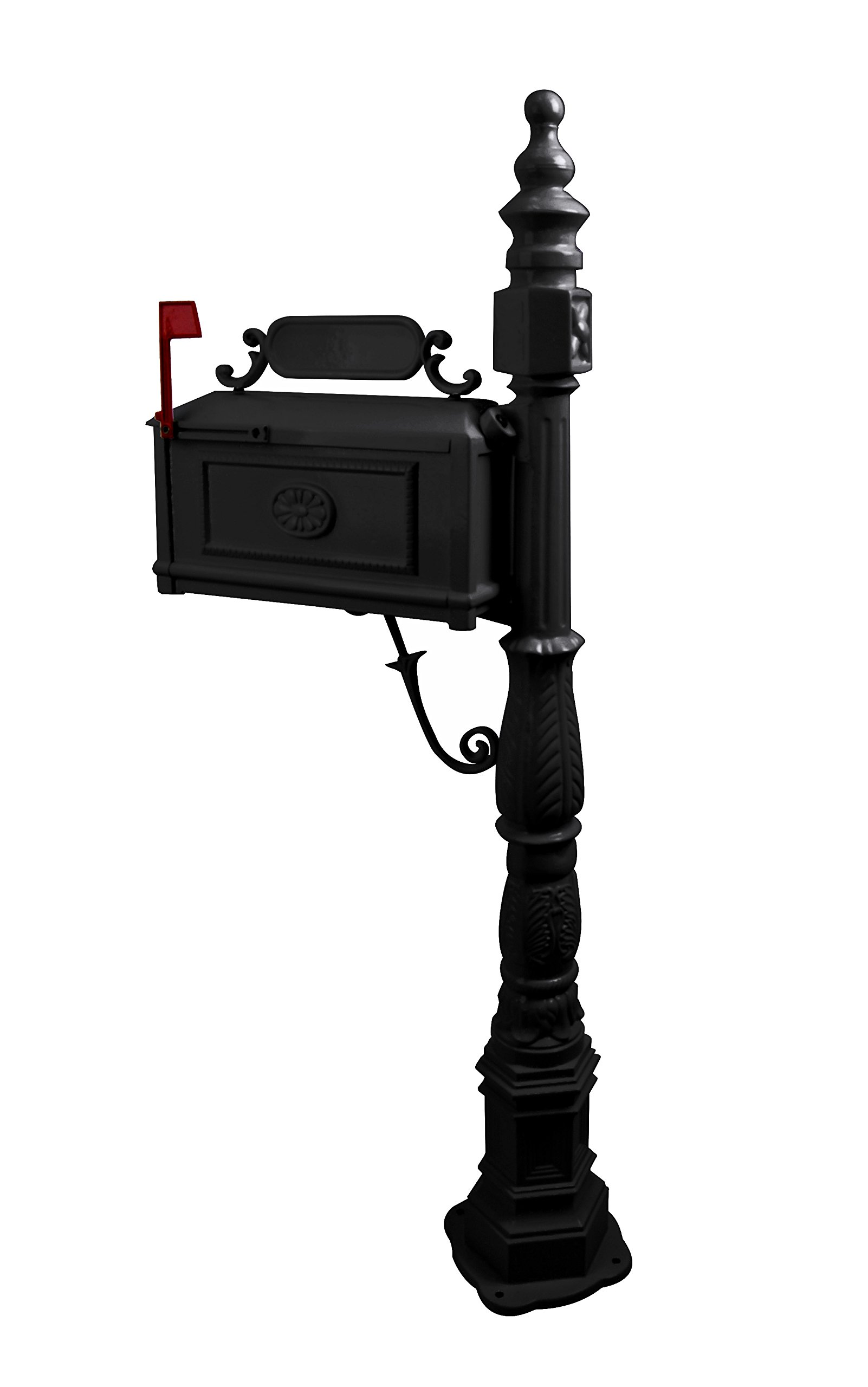 Post Mailbox Combination Stratford Heavy Duty Mail Box Cast Aluminum (Black)