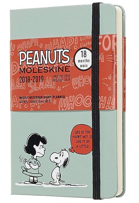 Moleskine DPE18WN2Y19 - Libreta semanal 18m de edición limitada Peanuts de bolsillo, color verde