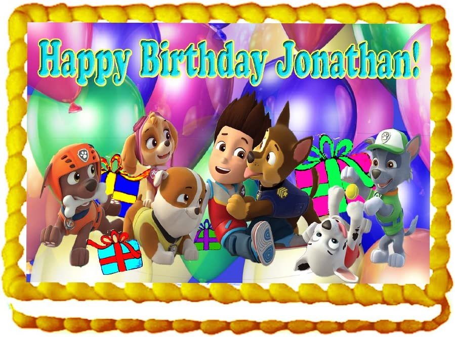 "Paw Patrol ""Birthday Party"" 1/4 Sheet Edible Photo Birthday Cake Topper~ Personalized!"