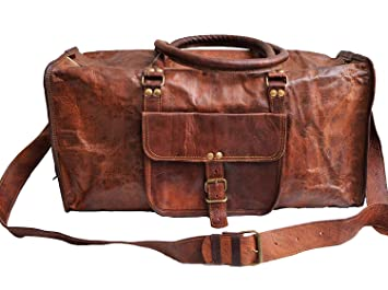 95dfe38fdd Image Unavailable. Image not available for. Color  Genuine Leather Mens  Sports Duffel Travel Luggage Weekend Vintage Carry on Bag