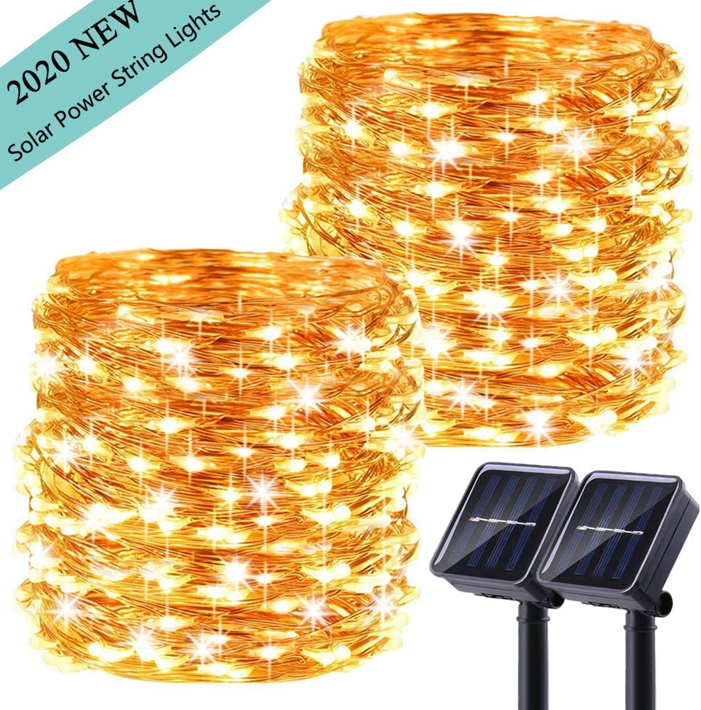 LiyuanQ Upgraded Solar Powered String Lights, 2 Pack 8 Modes 50 LED Solar Fairy Lights Waterproof 16ft Copper Wire Lights Outdoor Garden String Lights for Home Patio Yard Party Decoration (Warm White)