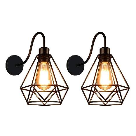 iDEGU 2 Piezas Lámparas de Pared Industrial Aplique Pared E27 Luz ...