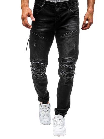 bc6e5a041a057 Elonglin Homme Jeans Déchiré Grand Trou délavé Pantalon Trous En Coton Denim  Stretch Jeans Destroy Trou