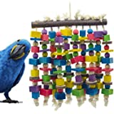 Delokey Large Bird Parrot Chewing Toy - Multicolored Natural Wooden Blocks Bird Parrot Tearing Toys Suggested for Large…