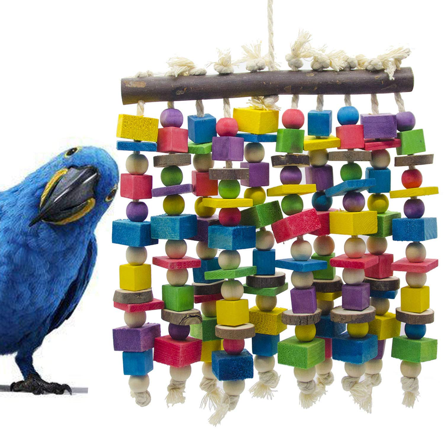 Delokey Large Bird Parrot Chewing Toy - Multicolored Natural Wooden Blocks Bird Parrot Tearing Toys Suggested for Large Macaws cokatoos,African Grey and a Variety of Amazon Parrots(15.7'' X 9.8'') by Deloky
