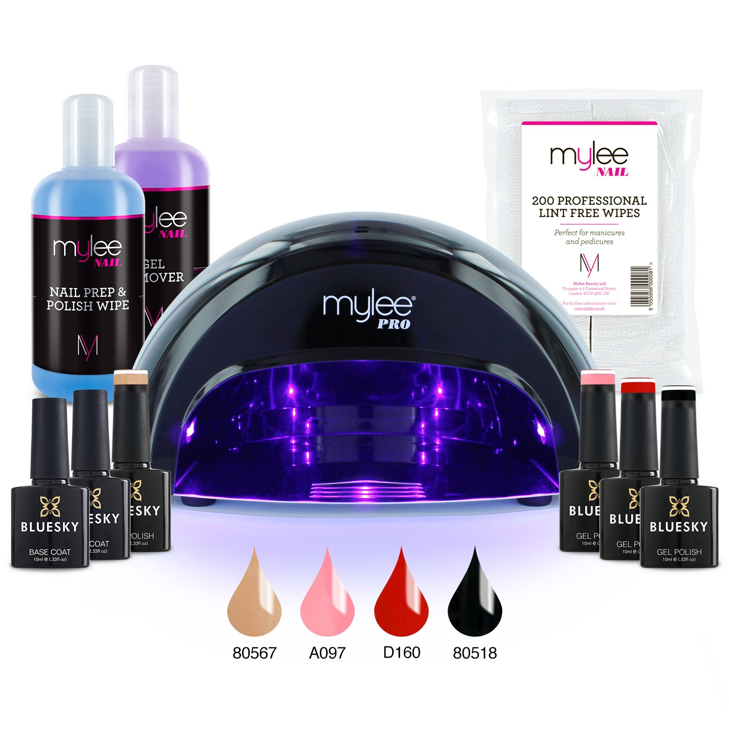 Mylee Complete Professional Gel Nail Polish LED Lamp Kit, Including ...