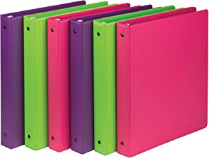 Samsill 6 Pack 1 Inch Round Ring Binders, Fashion Colors (Purple, Green, Pink) for Home, Office and School Projects and Organization, 6 Durable Cover Assorted Color Binders, Made in the USA