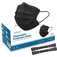 Black Face Mask, Black Disposable Face Mask with 2 Mask Strap Extender, Anti Pollen Dust Masks, Daily Protection Mask…