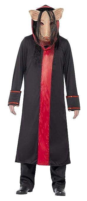 SmiffyS 20494M Disfraz De Cerdo De Saw Con Careta Y Túnica Con Capucha, Negro,