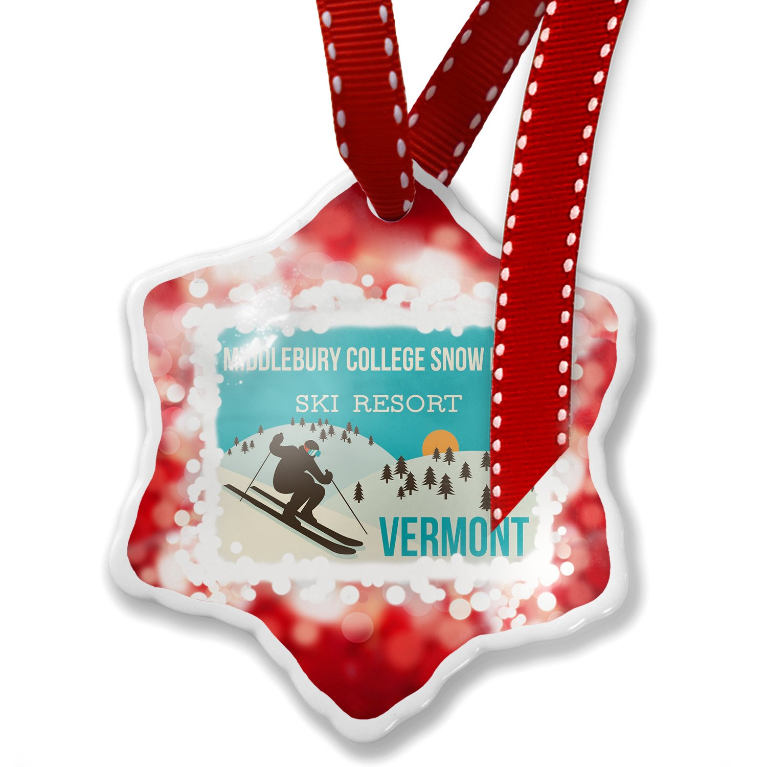 Christmas Ornament Middlebury College Snow Bow Ski Resort - Vermont Ski Resort, red - Neonblond by NEONBLOND (Image #1)