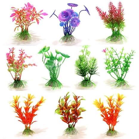 10 pcs mixtos Planta Artificial de Agua del Tanque de peces de acuario ornamento decoración de