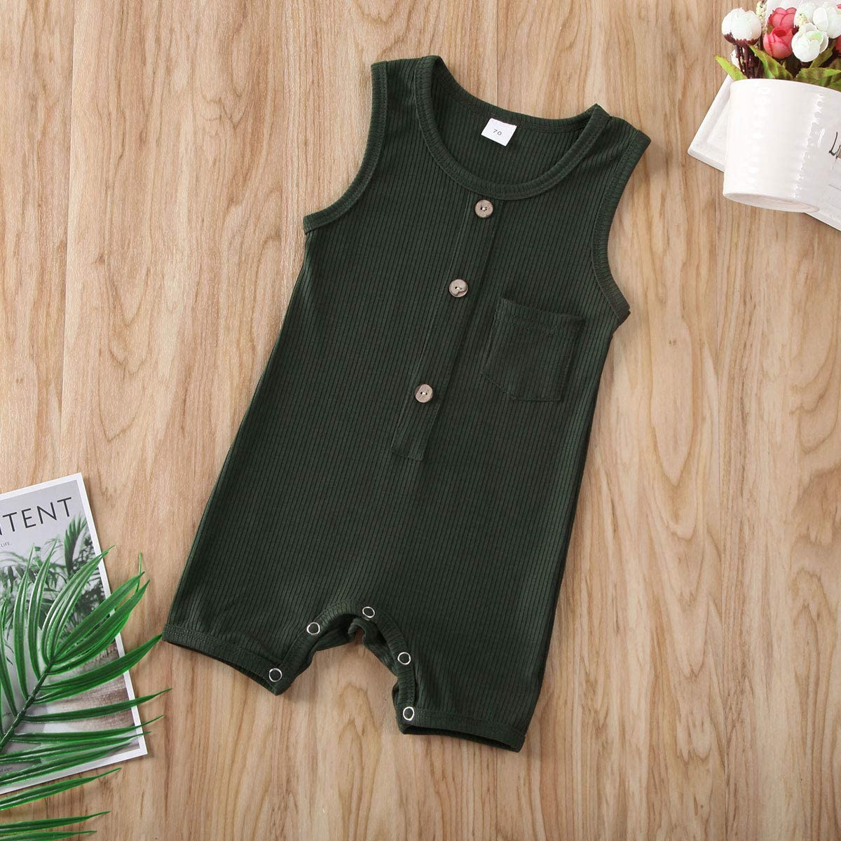 Lefyira Unisex Baby Sleeveless Rompers Jumpsuit Solid Color Button Front Bodysuit Outfit Clothes