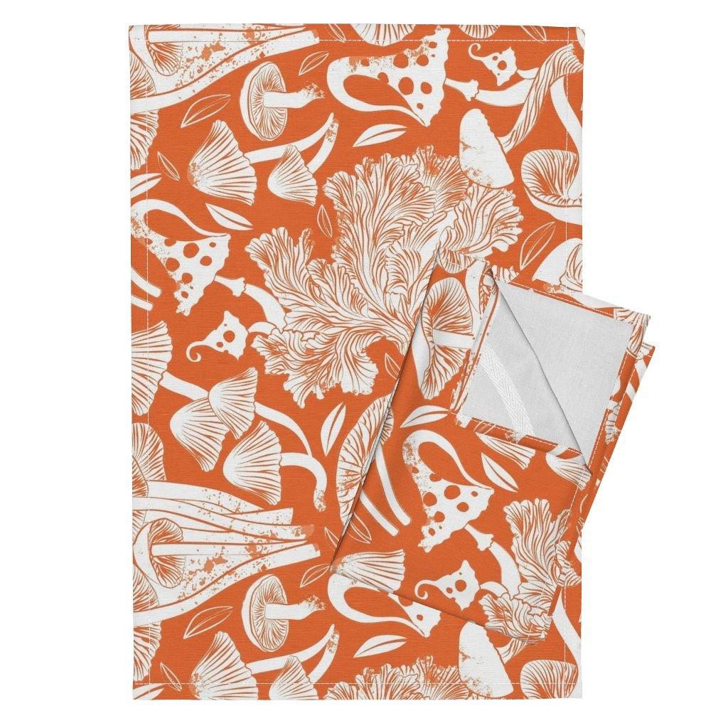 Mushroom Wood Rustic Fall Botanical Block Print Tea Towel Roosteryfqteatowel Orange Tea Towels Delicious Autumn Botanical by Selmacardoso Set of 2 Linen Cotton Tea Towels