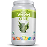 Vega One Organic All-In-One Shake Plain, Unsweetened (20 Servings 26.9 Ounce) - Plant Based Vegan Protein Powder with Vitamins, Minerals, Antioxidants, No Dairy, No Gluten, Non GMO