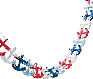 Fun Express - Nautical Anchor Garland for Birthday - Party Decor - Hanging Decor - Garland - Birthday - 1 Piece