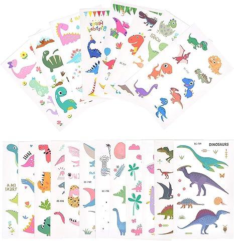 EKKONG Dibujos Dinosaurio Tatuajes temporales Kit, Impermeables ...