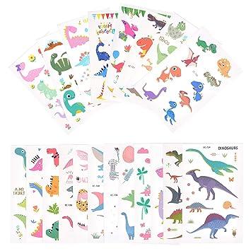 EKKONG Dibujos Dinosaurio Tatuajes temporales Kit, Impermeables Falso Tatuajes Pegatinas para niños niñas, Fiestas Infantiles Cumpleaños de Niños ...